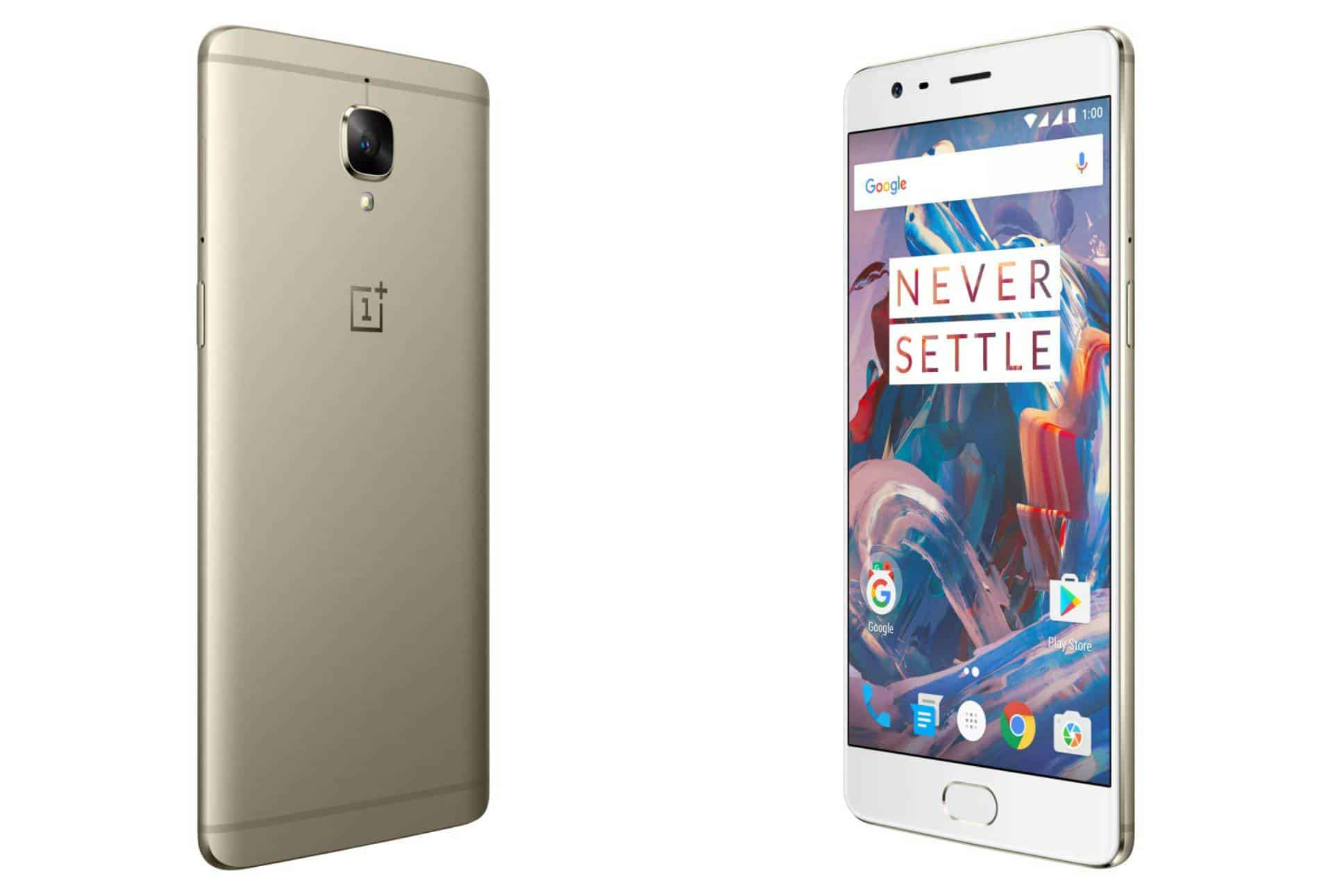 OnePlus 3 Soft Gold Render leak Back-Front