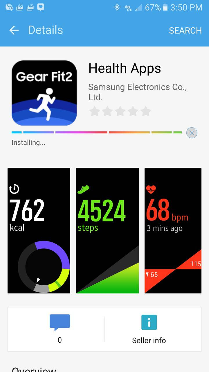 Samsung Gear Fit2 screenshots Galaxy Apps
