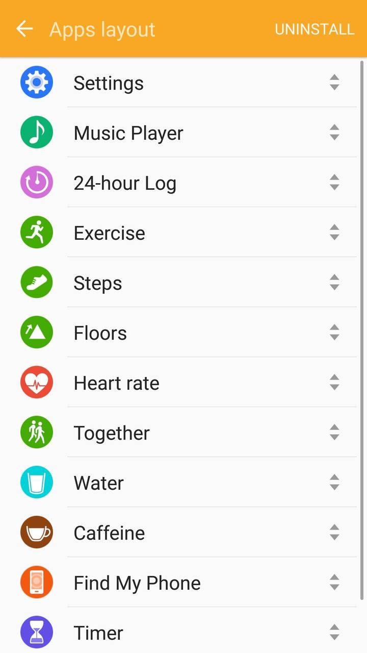 Samsung Gear Fit2 screenshots apps
