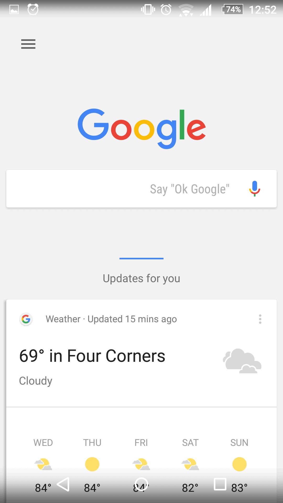 Xperia Home Beta Google Now panel 1