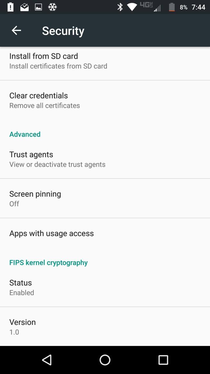 Motorola Lenovo Moto Z Screenshots FIPS