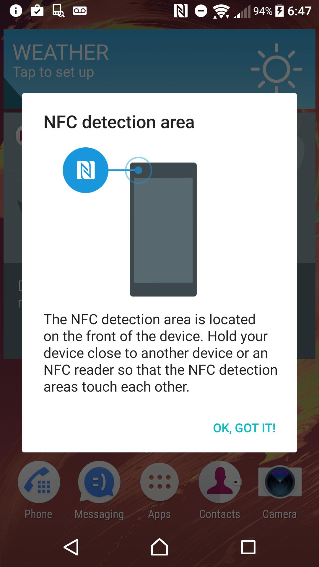 Sony Xperia X Performance AH NS Screenshots NFC