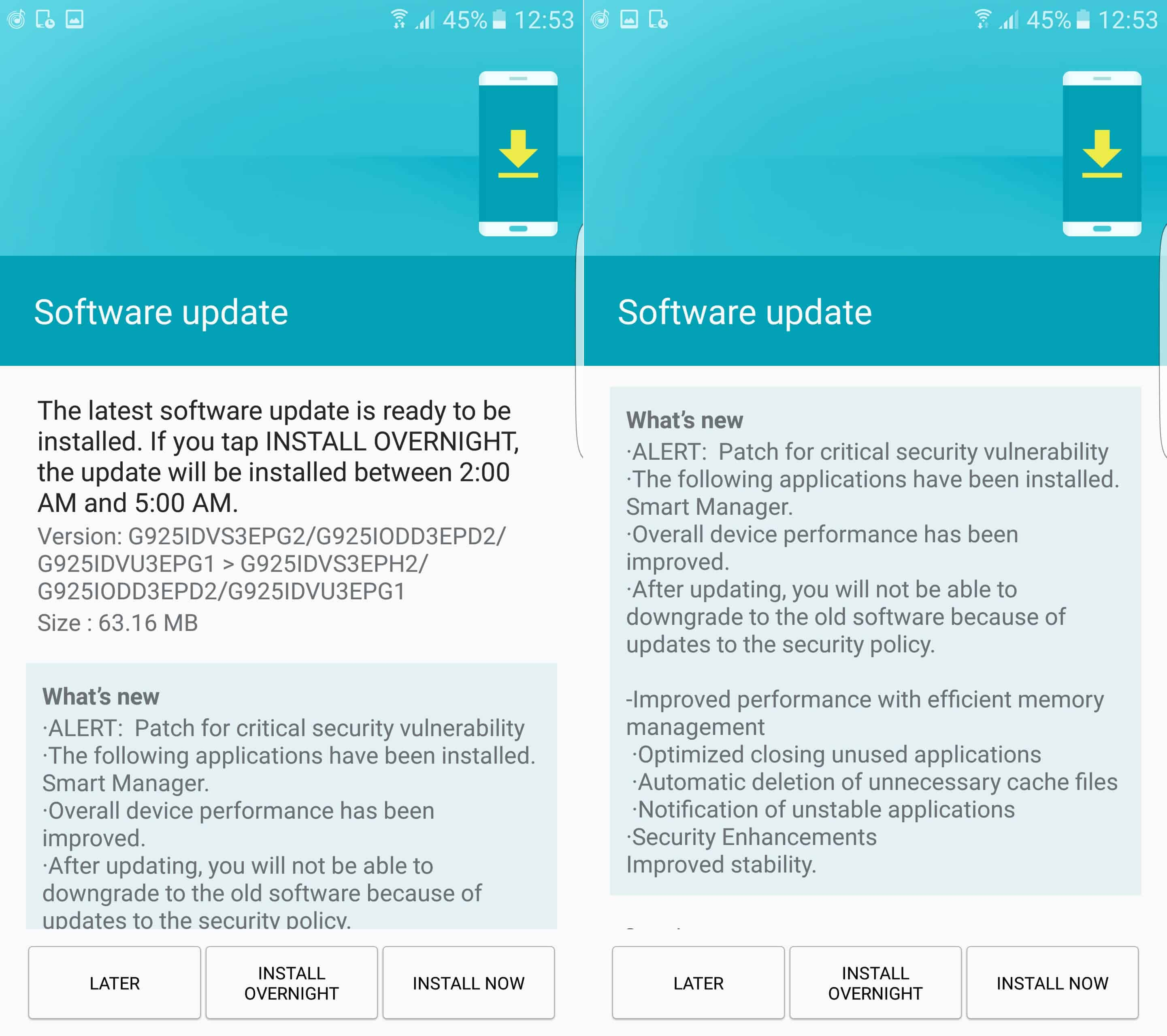 Galaxy S6 Edge August Security Update India KK