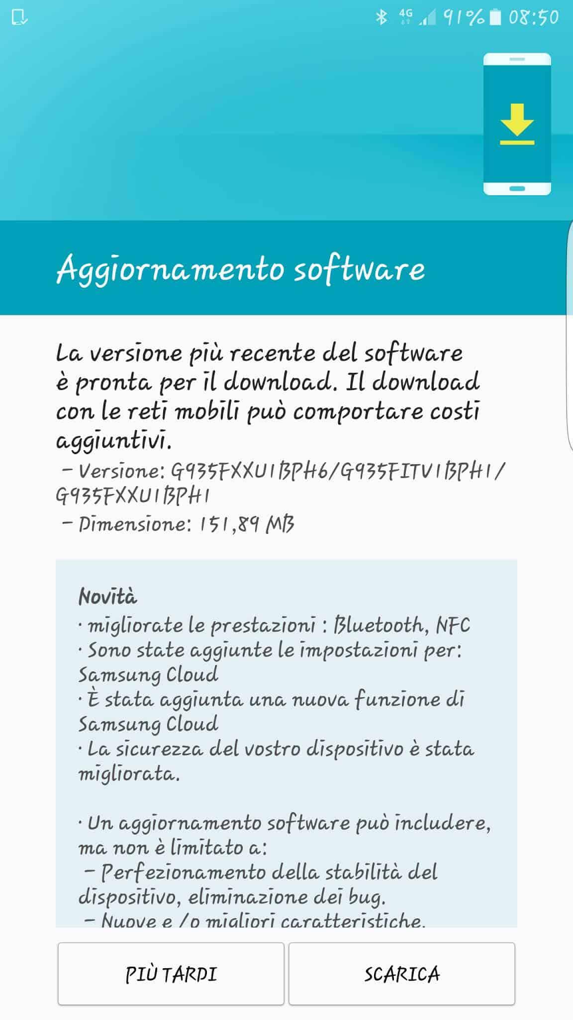 Galaxy S7 S7 Edge August 2016 Security Update Italy KK