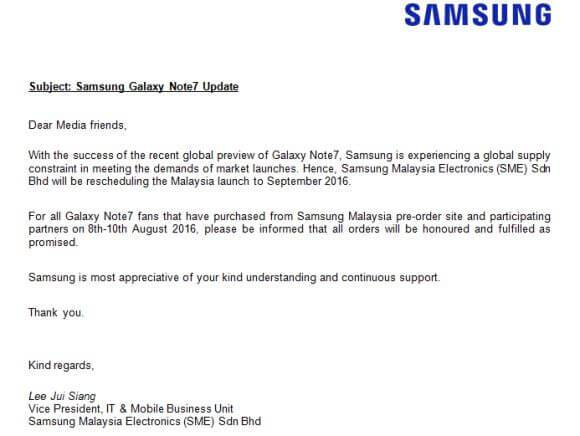 Samsung Galaxy Note 7 malaysia preorder delay letter