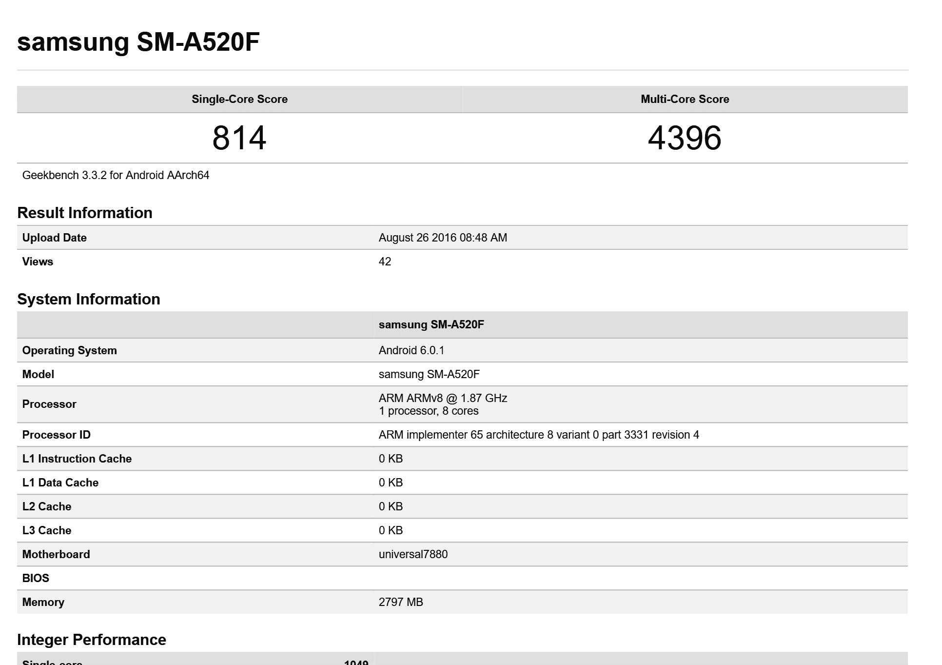 Samsung Galaxy A5 - SM-A520F