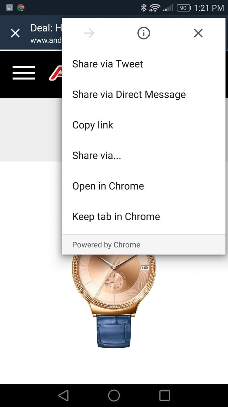 Chrome Beta Keep Tab screens AH 3