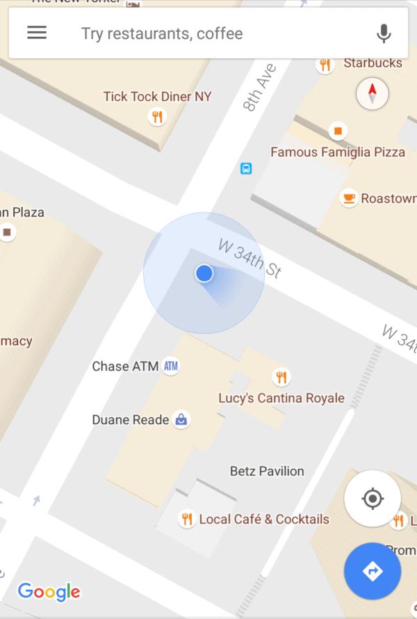google-maps-shining-blue-beam