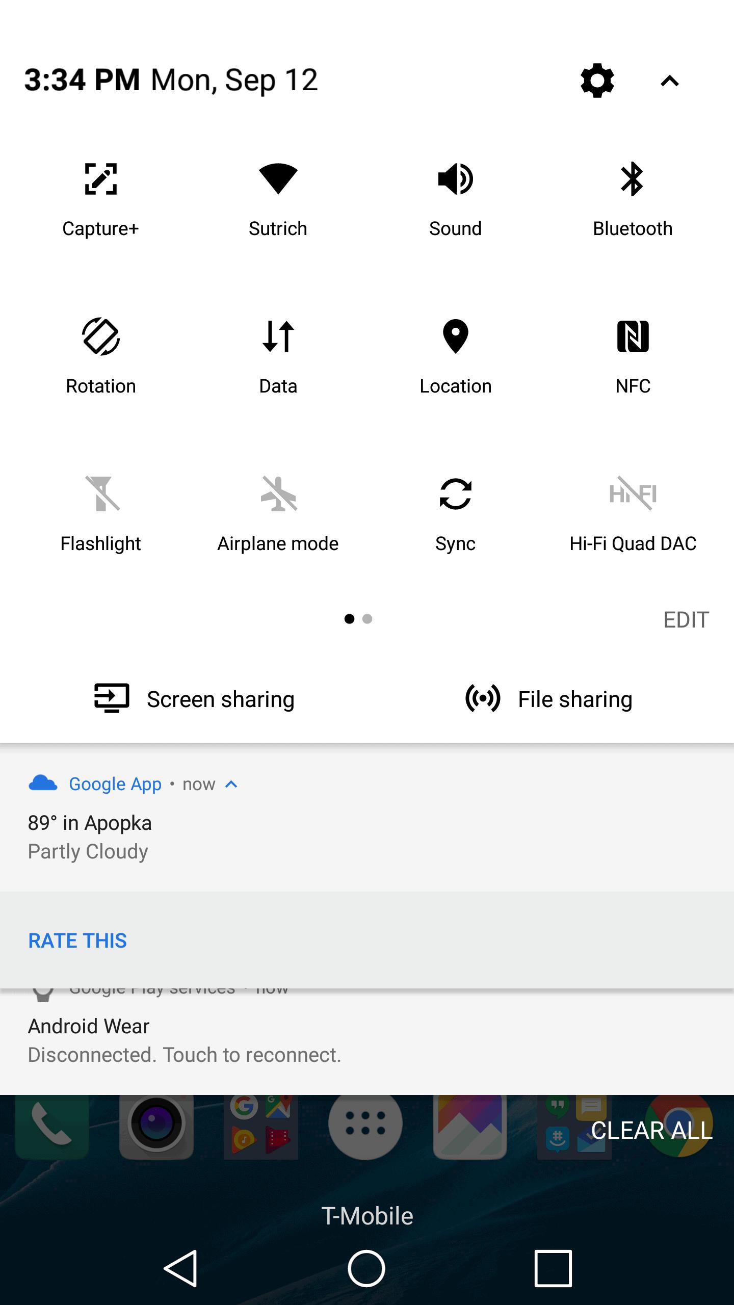 LG V20 AH NS screenshots notification shade 2