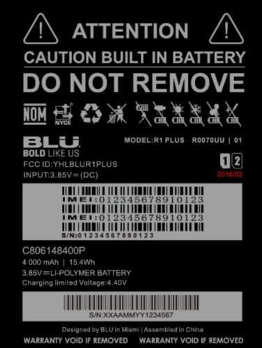 BLU R1 Plus FCC KK 4