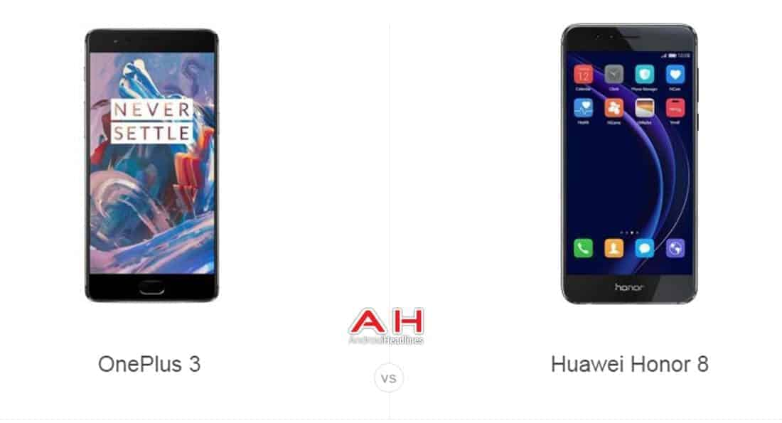 OnePlus 3 vs Honor 8 cam AH