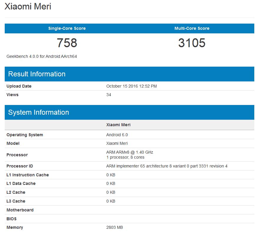 Xiaomi Meri Geekbench 1