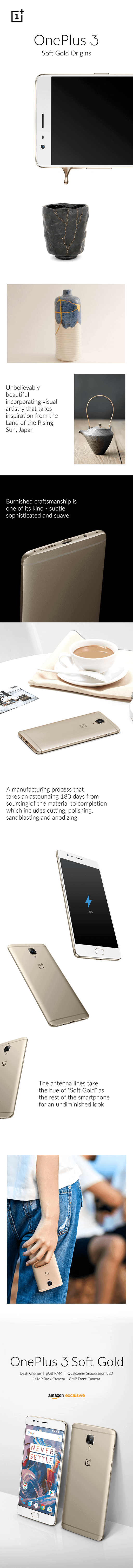 OnePlus 3 Soft Gold infographic