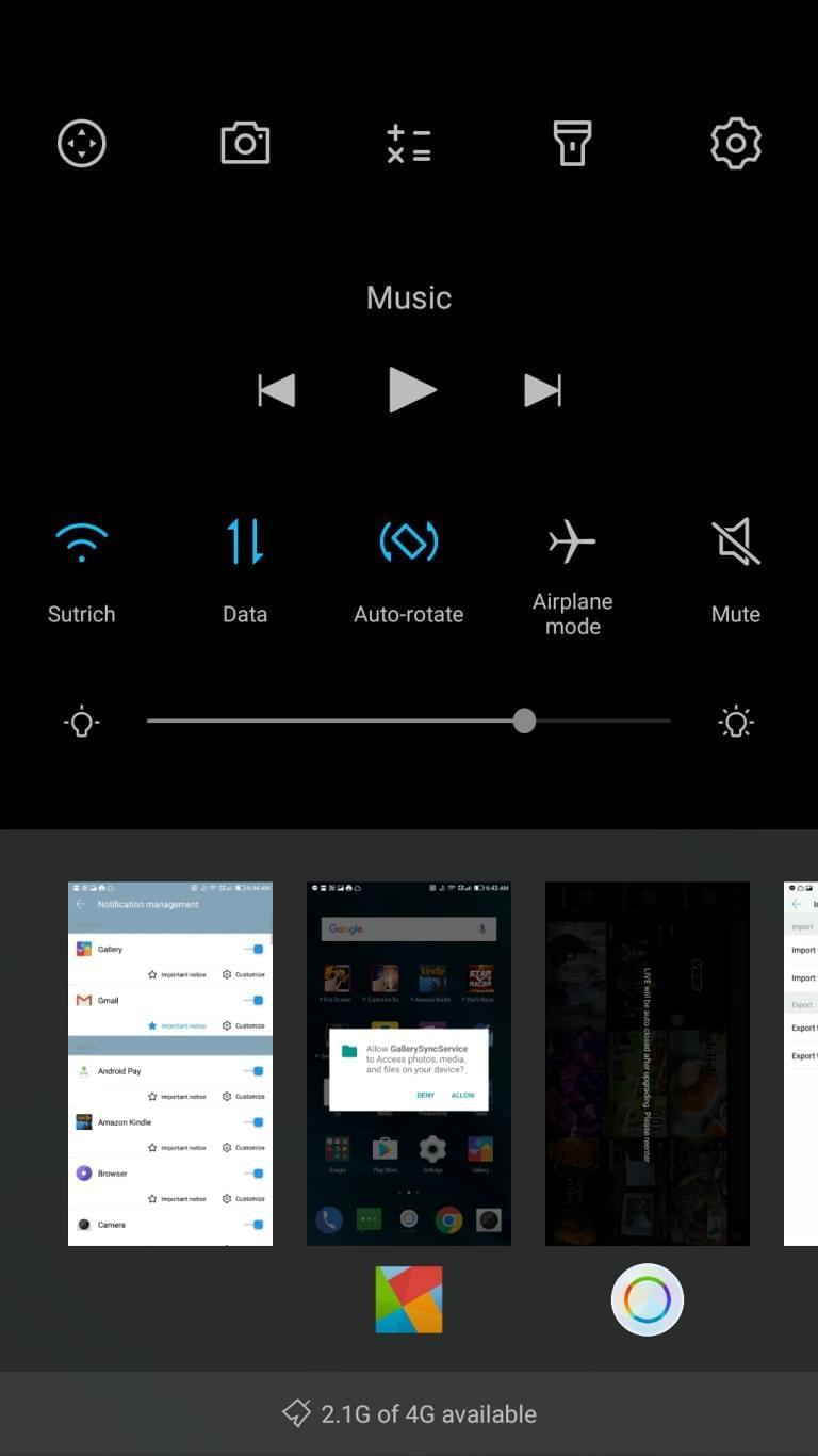 LeEco Le Pro3 AH NS screenshots control center 2