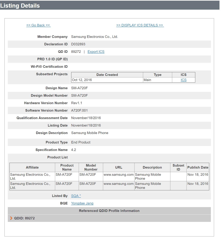 Galaxy A7 2017 BT certification