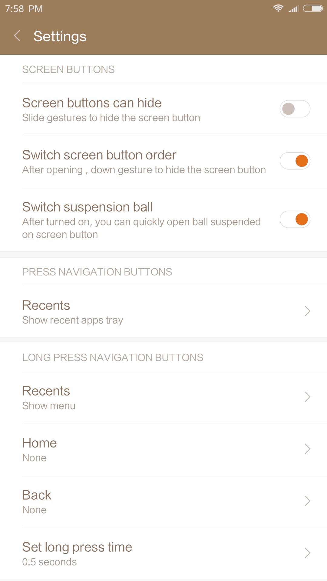 Xiaomi Mi MIX AH NS Screenshots settings buttons