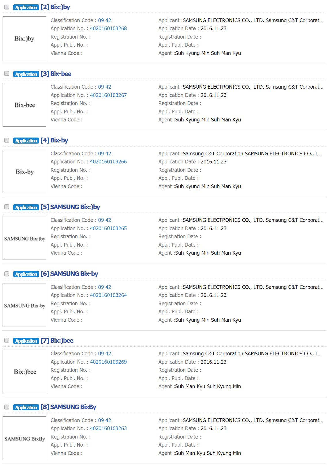 samsung bixby trademark variations korea