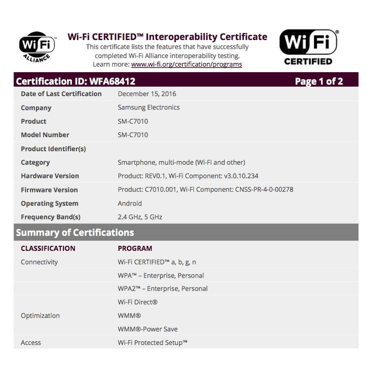 Samsung Galaxy C7 Pro Wi Fi Certification 01