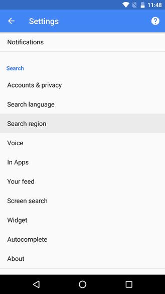 Google App Beta Search Region 1