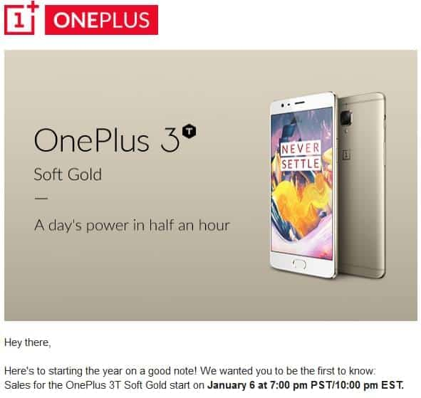 OnePlus Will Launch Soft Gold OnePlus 3T On January 6th