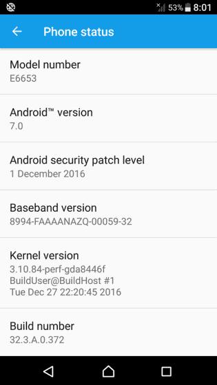 Xperia Z5 Nougat About Screen xperiablog