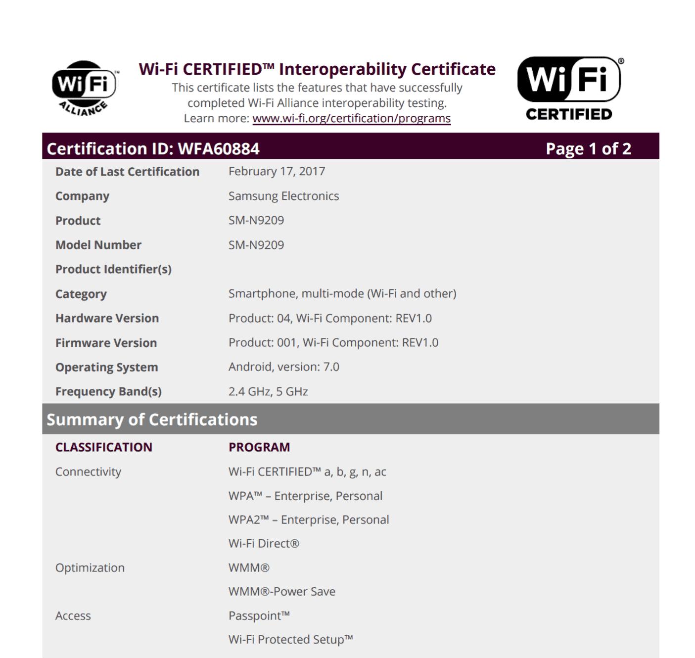 Galaxy Note 5 Nougat Wi Fi Certification 1