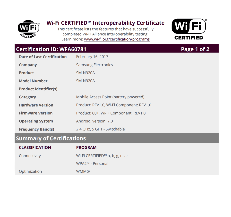 Galaxy Note 5 Nougat Wi Fi Certification 3