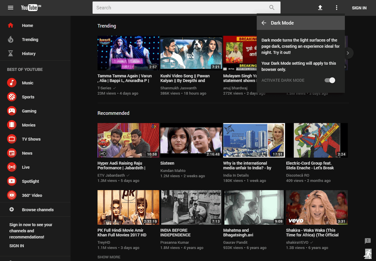 Image result for YouTube dark mode desktop