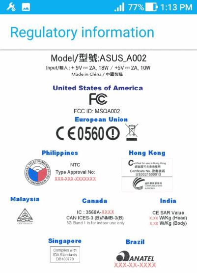 ASUS ZenFone AR FCC 3