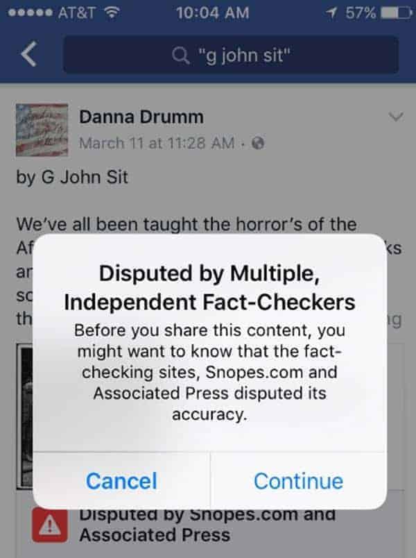 Facebook Disputed Story 2