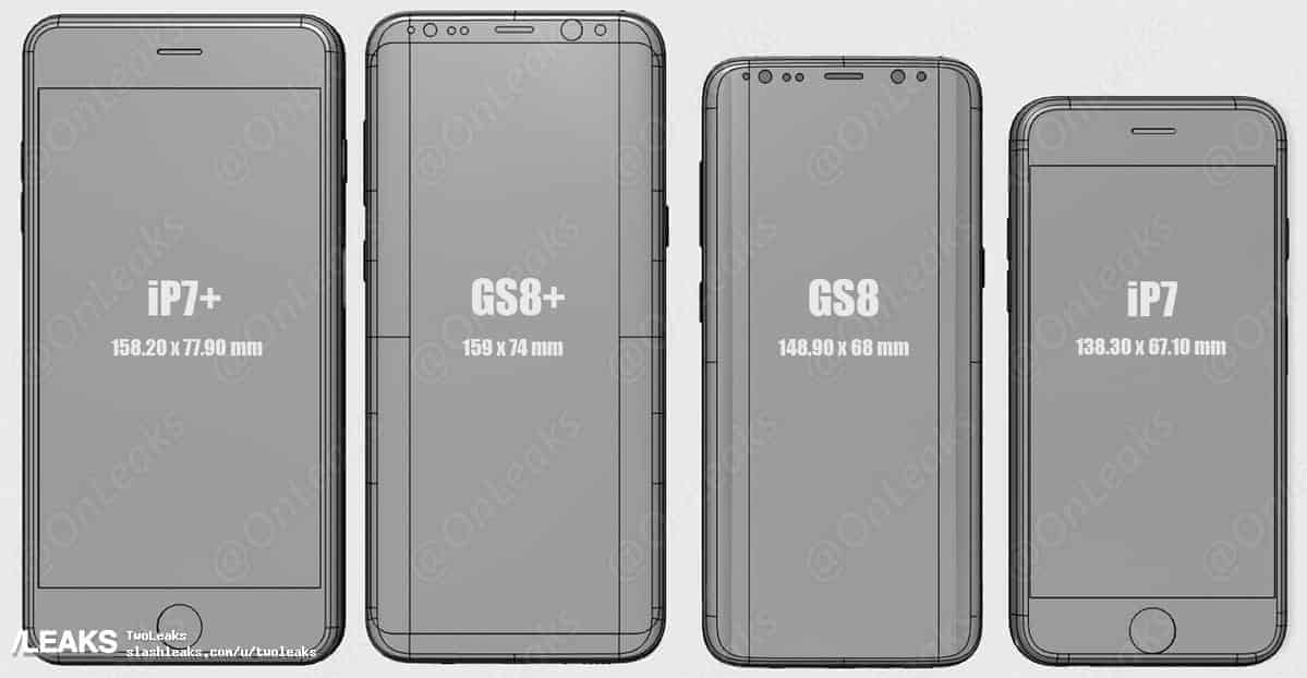 size comparison galaxy s8 s8 plus iphone 7 plus and