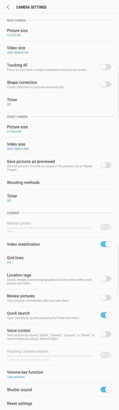 Galaxy S8 AH NS Screenshot camera options