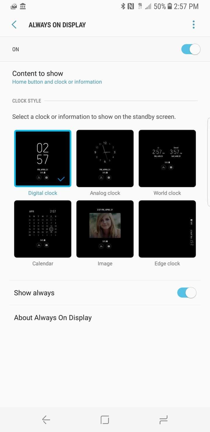 Galaxy S8 AH NS Screenshot display always on
