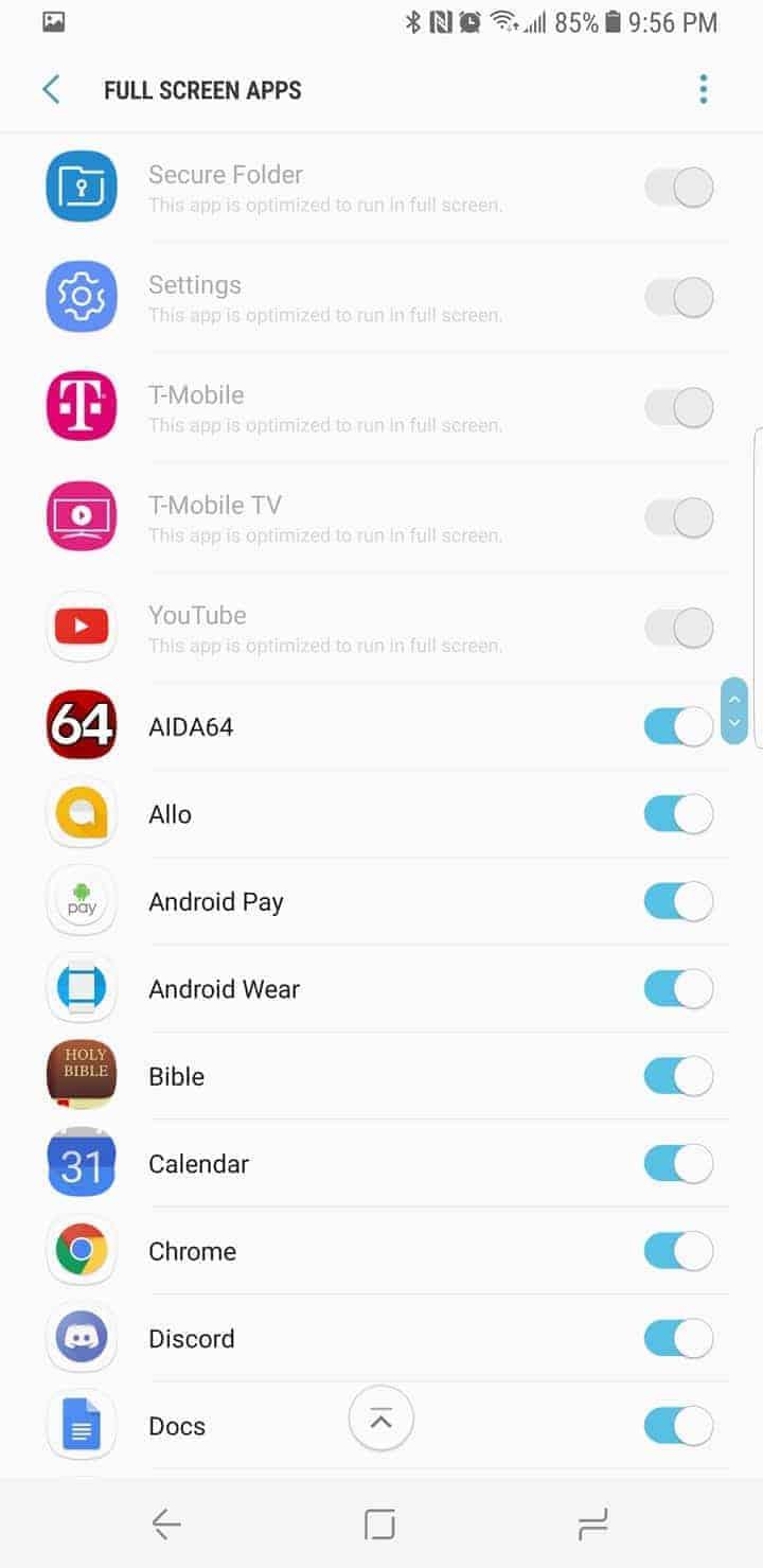 Galaxy S8 AH NS Screenshot display display app ratio