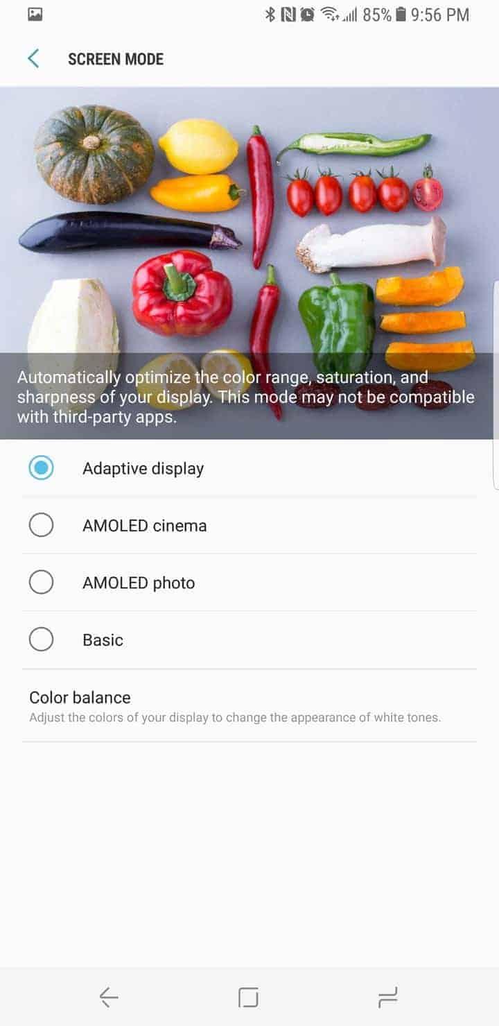 Galaxy S8 AH NS Screenshot display display type