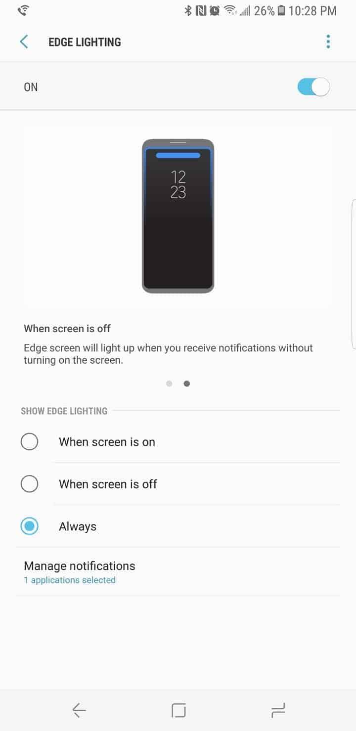 Galaxy S8 AH NS Screenshot display edge lighting
