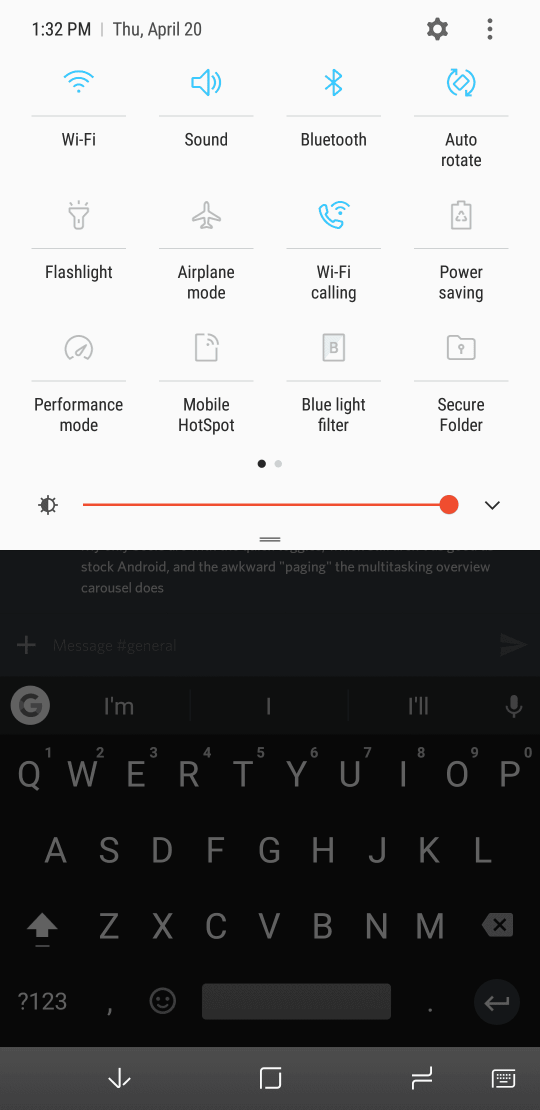 Galaxy S8 AH NS Screenshot quick toggles 1