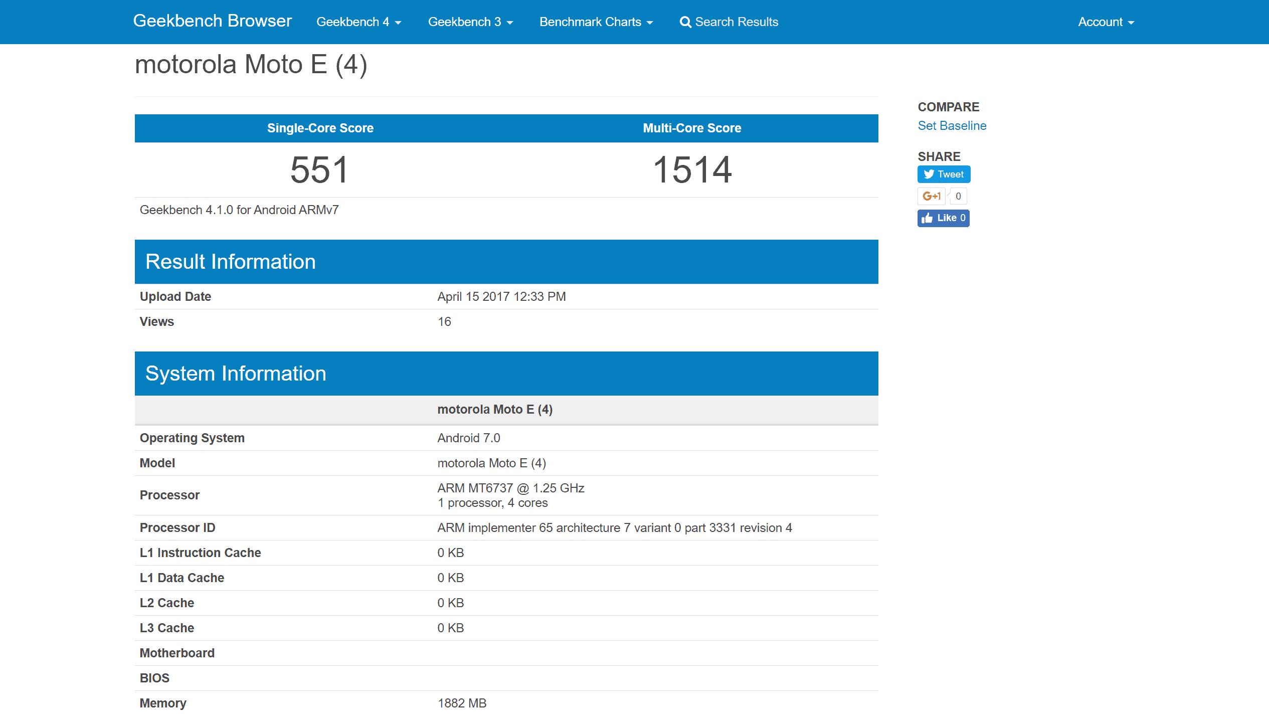 Moto E4 Geekbench 4