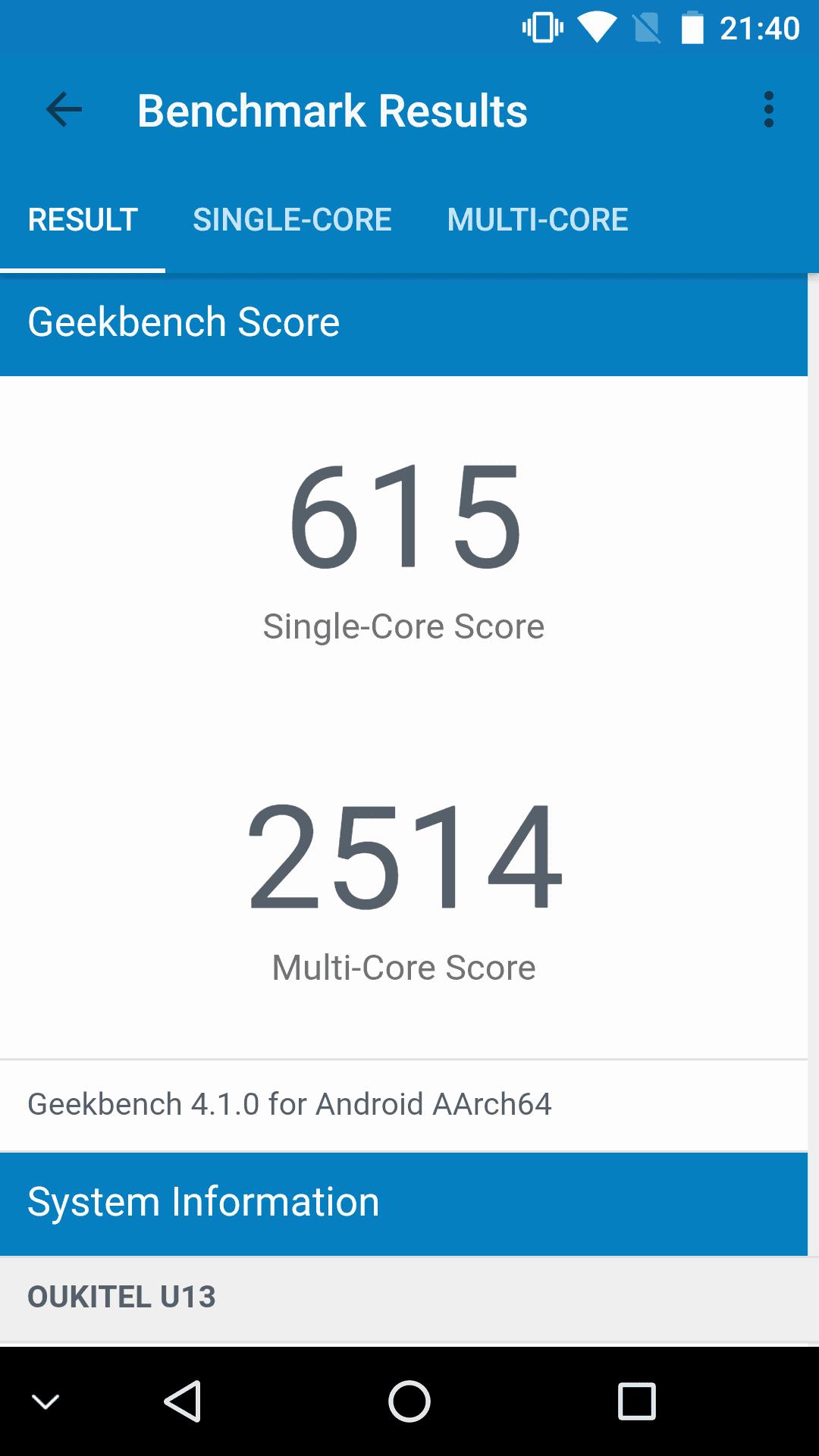 Oukitel U13 Geekbench 4 2