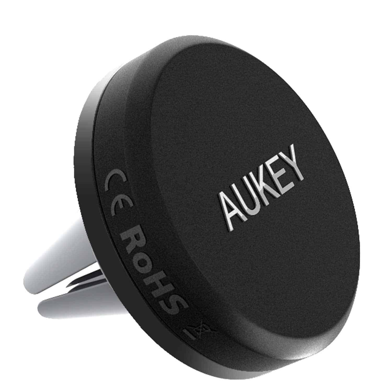 Aukey has a really sleek looking car mount here that attaches to the air vent in your car this one is pretty small but still pretty strong thanks to its