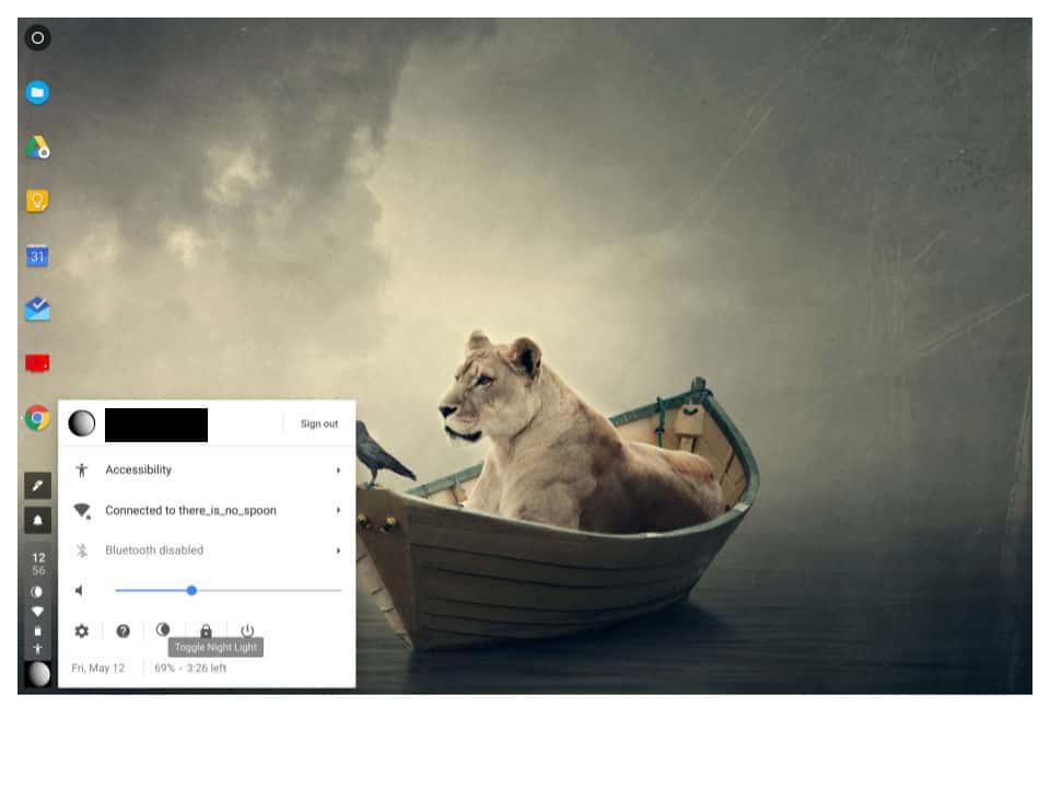 Chrome OS Night mode