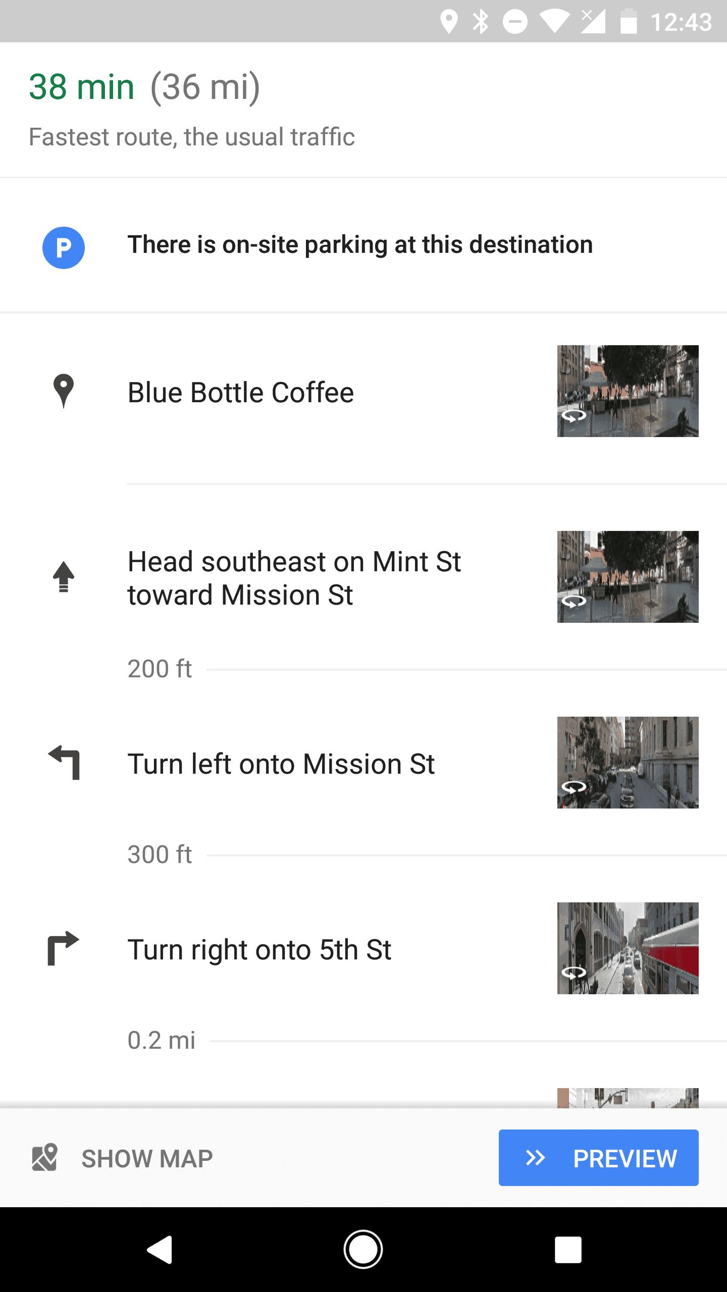 Google Maps Street View Thumbnails Bottom Bar AP 2