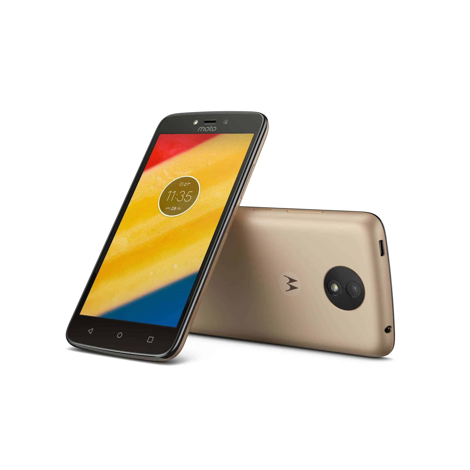Moto C Plus Fine Gold Front Back