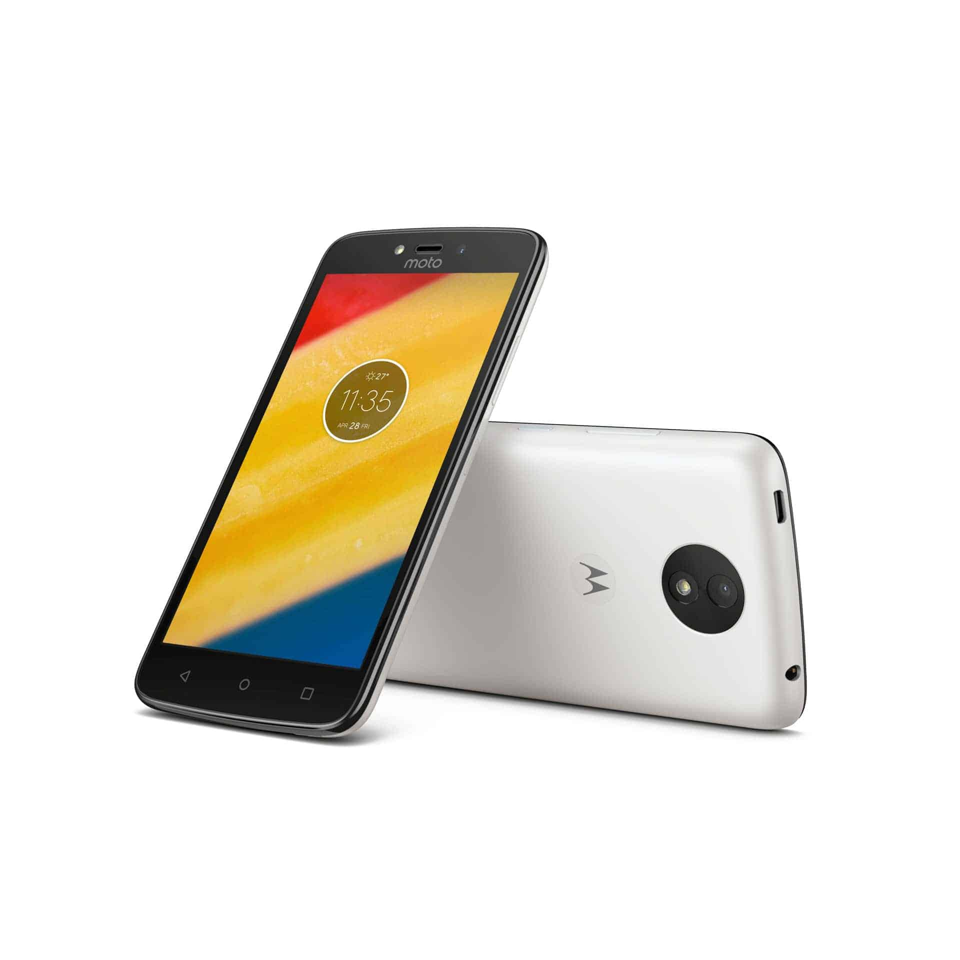 Moto C Plus Pearl White Front Back