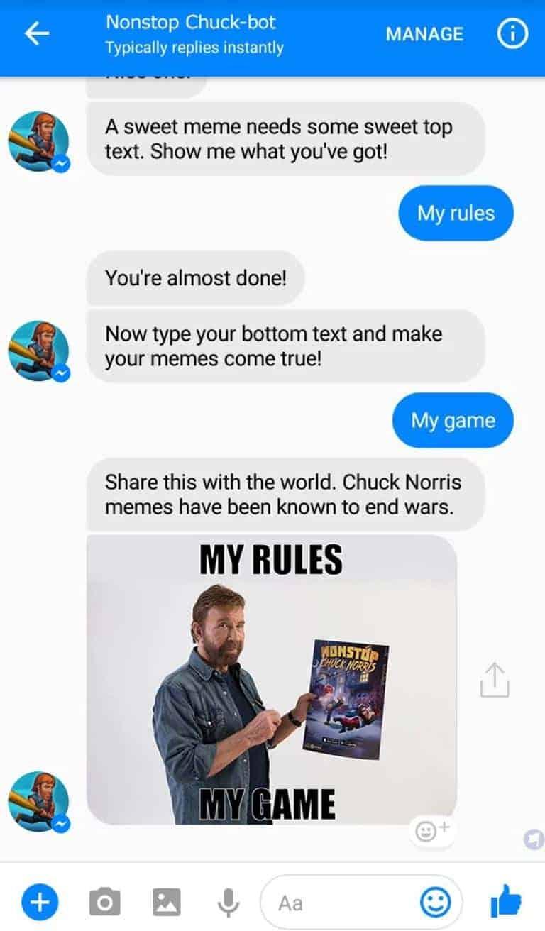 Nonstop Chuck Norris Facebook Messenger Chatbot 1 nonstop chuck norris chatbot hits facebook's messenger