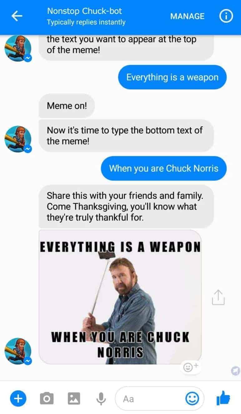 Nonstop Chuck Norris Facebook Messenger Chatbot 4 nonstop chuck norris chatbot hits facebook's messenger