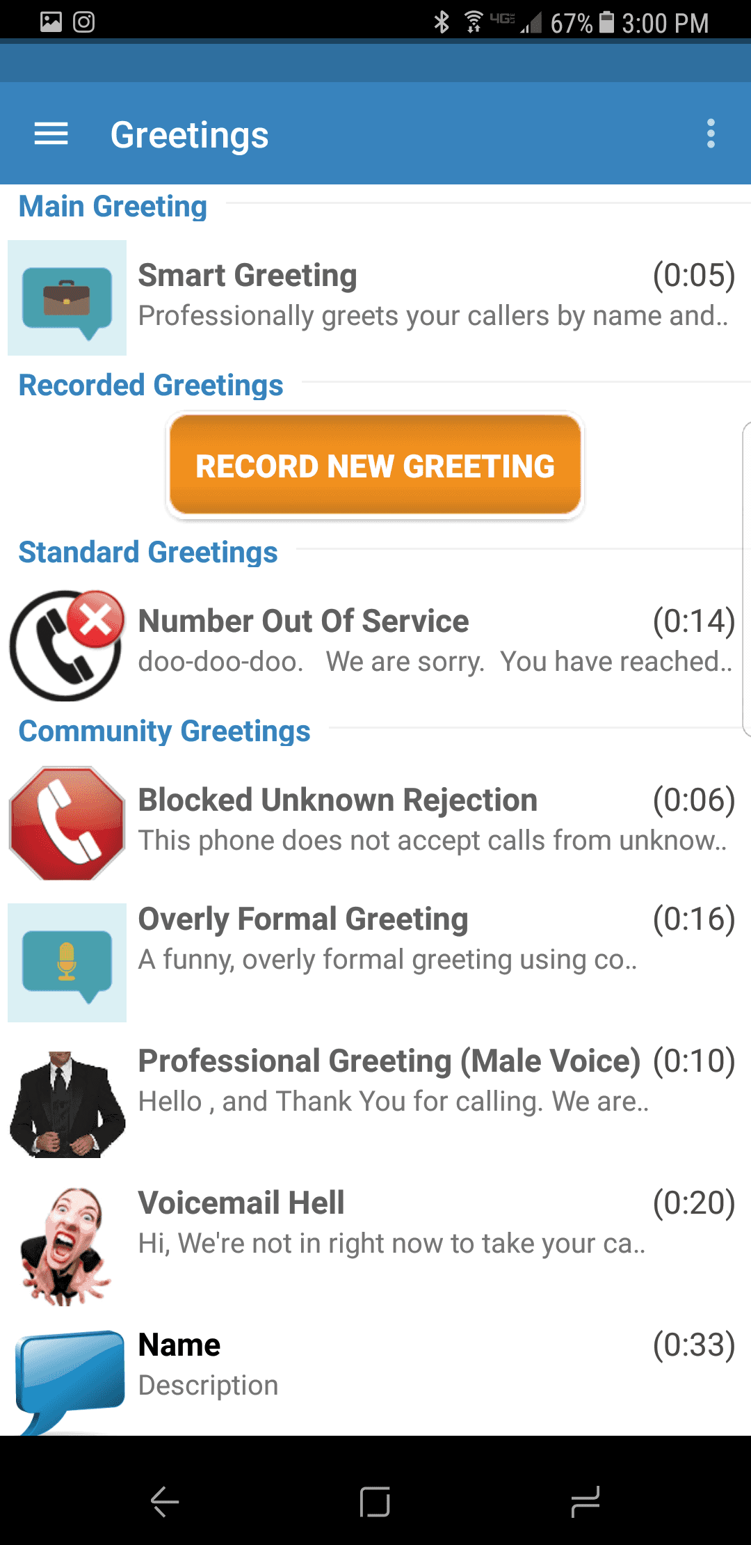 Sponsored app review youmail voicemail replacement there are many greetings that are already available which the caller will hear when they reach your voicemail kristyandbryce Gallery