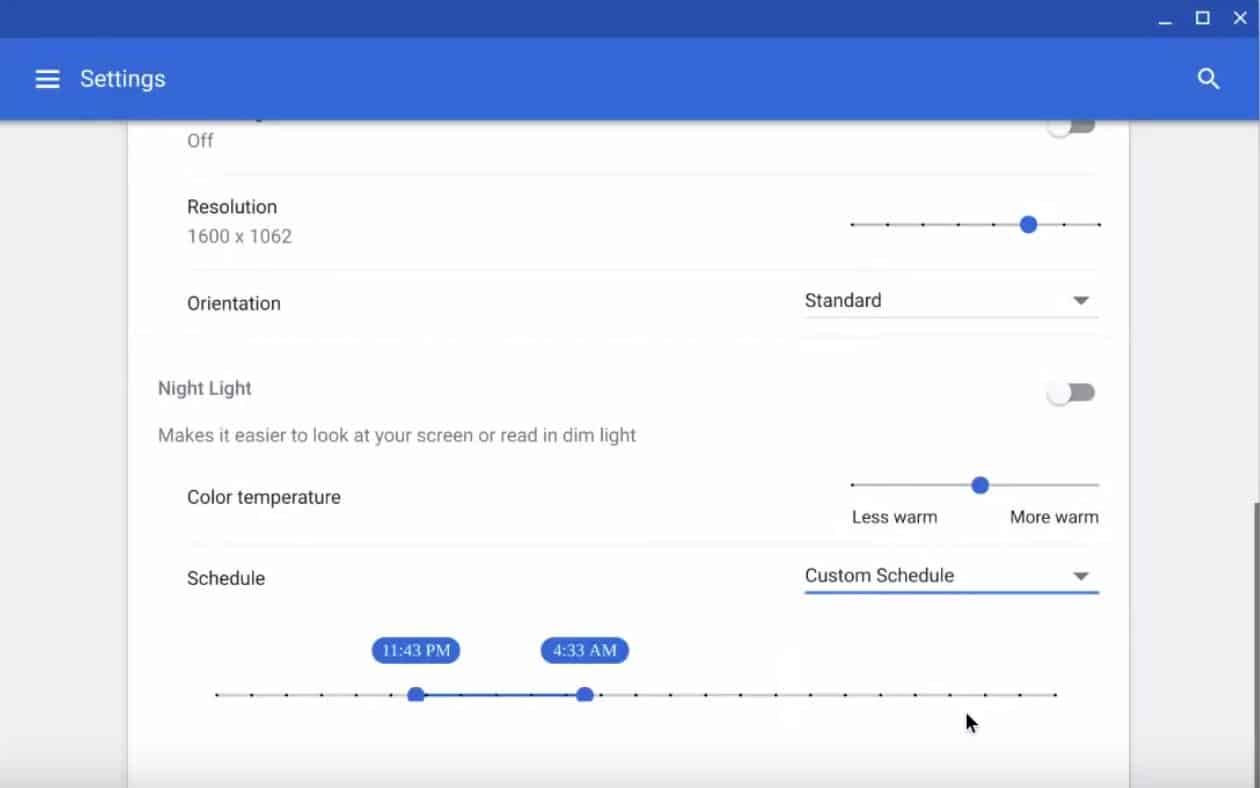 Chrome OS Canary Gets Night Light Feature