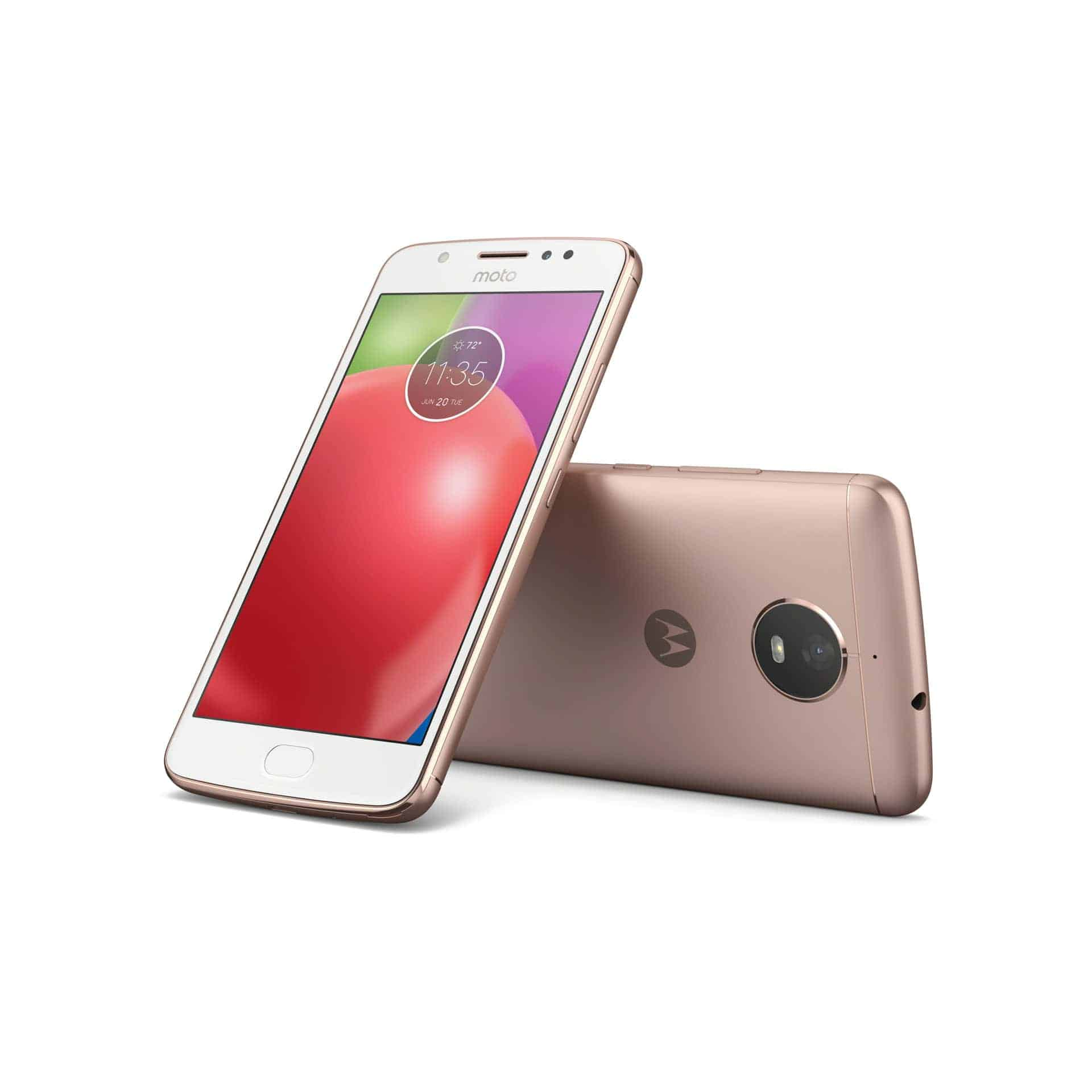 Moto E4 Blush Gold Back Front With NFC