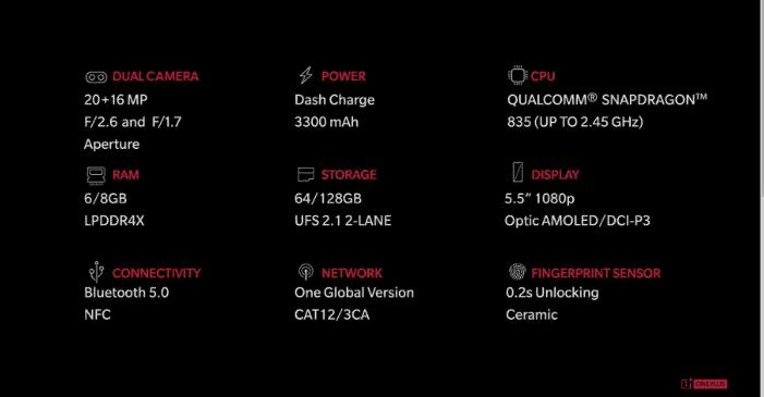 OnePlus 5 specs 1